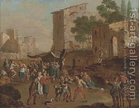 A brawl in a market place by (after) Cornelis De Wael - Reproduction Oil Painting
