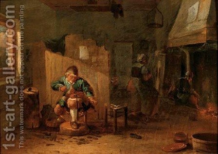 A cobbler in his workshop by (after) David The Younger Teniers - Reproduction Oil Painting