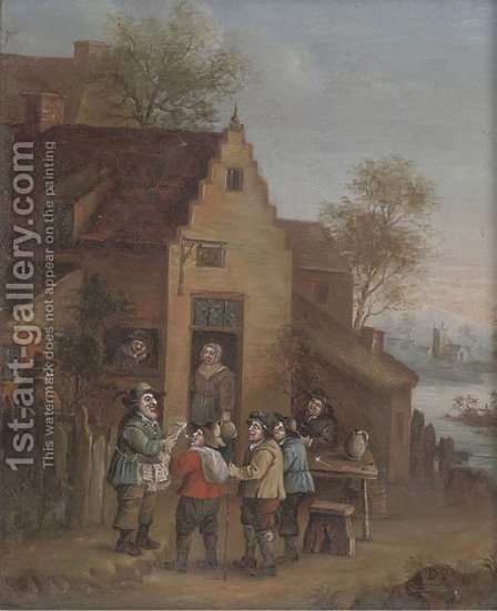 A town crier outside an inn by (after) David The Younger Teniers - Reproduction Oil Painting