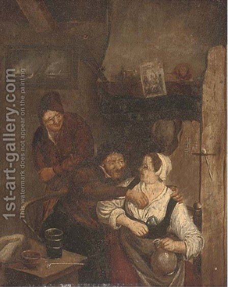 Amorous peasants in an interior by (after) David The Younger Teniers - Reproduction Oil Painting