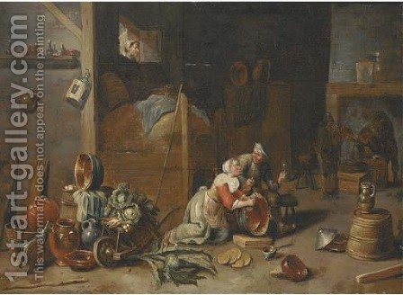 An interior with a maid scourging a pan and talking to a boor, with other peasants smoking and drinking beyond by (after) David The Younger Teniers - Reproduction Oil Painting