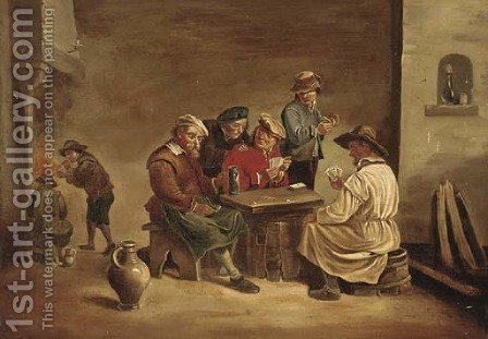 Boors playing cards in a tavern by (after) David The Younger Teniers - Reproduction Oil Painting