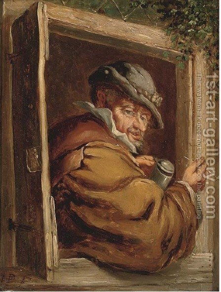 Enjoying a pipe and a good ale by (after) David The Younger Teniers - Reproduction Oil Painting