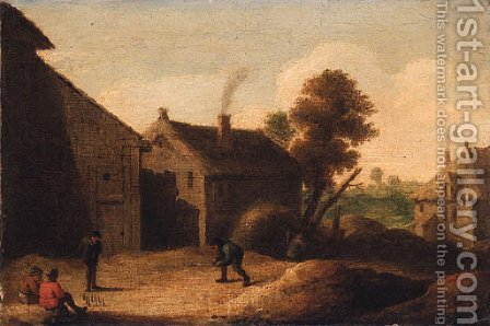 Peasants playing skittles by a farm by (after) David The Younger Teniers - Reproduction Oil Painting