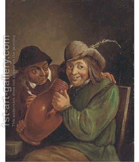 Peasants smoking and drinking in a tavern 5 by (after) David The Younger Teniers - Reproduction Oil Painting
