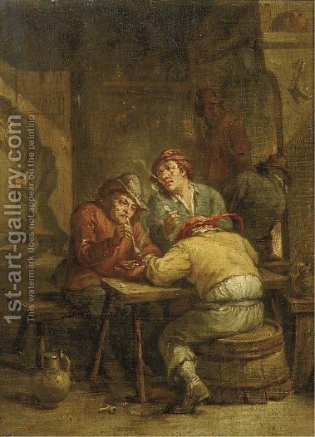 Peasants smoking in a tavern by (after) David The Younger Teniers - Reproduction Oil Painting