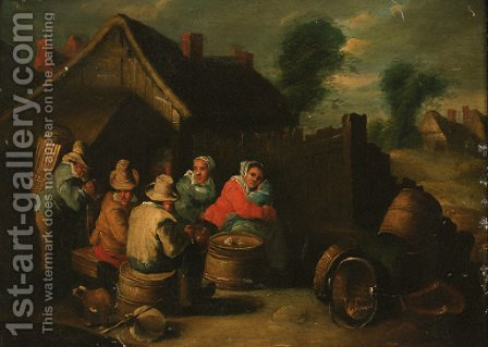 Travellers resting outside a cottage by (after) David The Younger Teniers - Reproduction Oil Painting