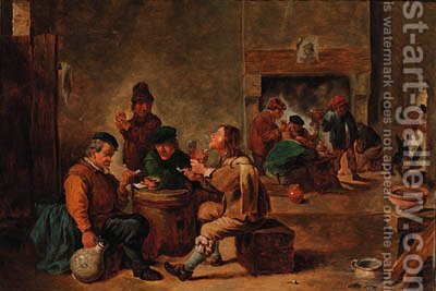 Peasants in a tavern interior by (after) David Teniers - Reproduction Oil Painting