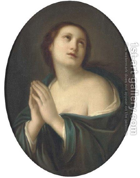 The Penitent Magdalen, in a feigned oval by (after) Elisabetta Sirani - Reproduction Oil Painting