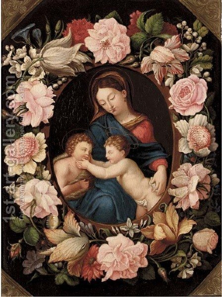 The Madonna and Child with the Infant Saint John the Baptist in a floral cartouche by (after) Erasmus II Quellin (Quellinus) - Reproduction Oil Painting
