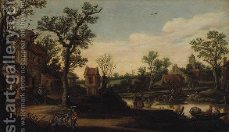 A wooded River Landscape with a Ferry and Figures on a Track by (after) Esaias Van De Velde - Reproduction Oil Painting