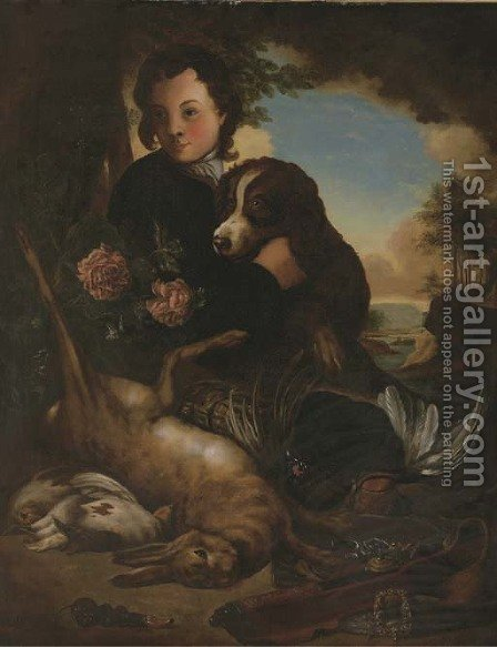 A boy and a dog with dead game by a tree in a landscape by Alexandre-Francois Desportes - Reproduction Oil Painting