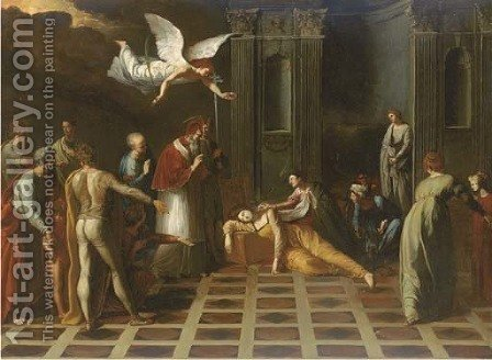 The Death of a female Saint by (after) Francesco Del Cairo - Reproduction Oil Painting
