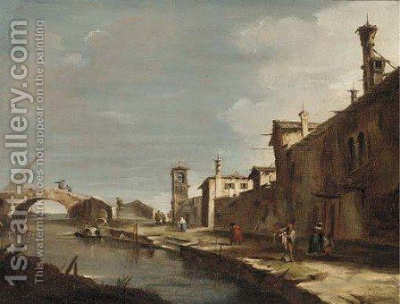 A Venetian canal with figures on a path by (after) Francesco Guardi - Reproduction Oil Painting