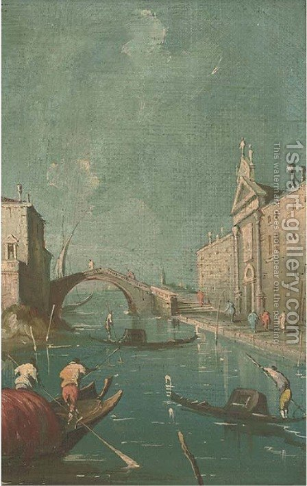 A Venetian canal by (after) Francesco Guardi - Reproduction Oil Painting