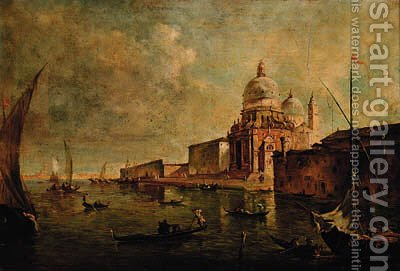 A view of Venice, looking Westwards towards Santa Maria della Salute, with the spirals of the Customs House beyond by (after) Francesco Guardi - Reproduction Oil Painting
