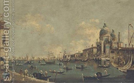 Gondolas and other shipping at the entrance to the Grand Canal before Santa Maria della Salute by (after) Francesco Guardi - Reproduction Oil Painting