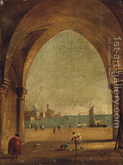 The Bacino Di San Marco From The Colonnade Of The Doge'S Palace by (after) Francesco Guardi - Reproduction Oil Painting