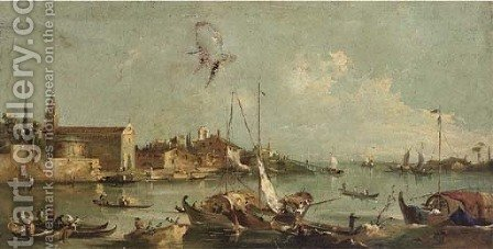 A capriccio of a Venetian lagoon by (after) Francesco Guardi - Reproduction Oil Painting