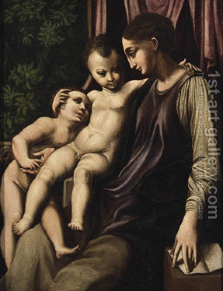 The Madonna and Child with the Infant Saint John the Baptist by Girolamo Francesco Maria Mazzola (Parmigianino) - Reproduction Oil Painting