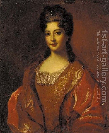 Portrait of a lady, half-length, in a gold brocade dress and red cloak by (after) Francois De Troy - Reproduction Oil Painting
