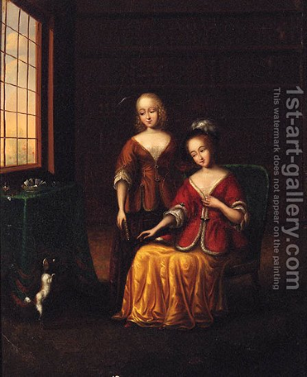 Elegant Ladies With A Toy Spaniel In An Interior by (after) Frans Van Mieris - Reproduction Oil Painting
