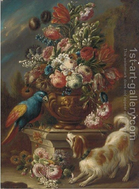 Mixed flowers in an urn on a pedestal with a parrot and a spaniel with other flowers on the ground, a landscape beyond by (after) Gasparo Lopez - Reproduction Oil Painting