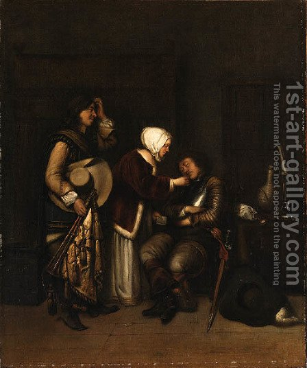 The Sleeping Soldier by (after) Gerard Terborch - Reproduction Oil Painting