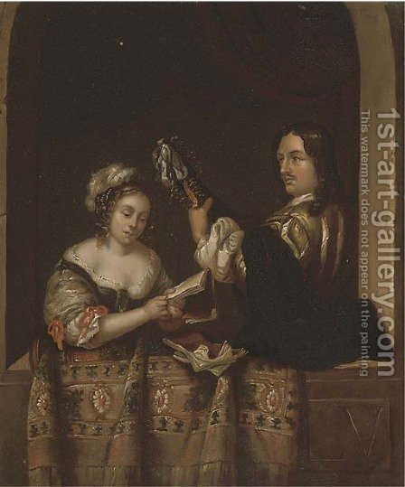 A couple making music at a casement by (after) Gerrit Dou - Reproduction Oil Painting