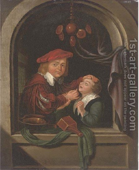 A dentist with a patient at a casement by (after) Gerrit Dou - Reproduction Oil Painting