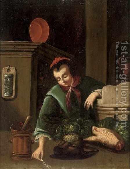 A girl in a kitchen by (after) Gerrit Dou - Reproduction Oil Painting