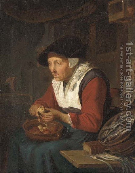 An old woman peeling apples in a kitchen interior by (after) Gerrit Dou - Reproduction Oil Painting