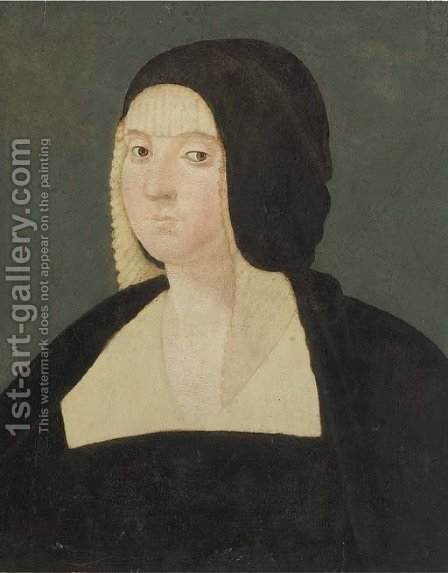 Portrait of a lady, bust-length, wearing a black veil by (after) Giovanni Antonio Boltraffo - Reproduction Oil Painting
