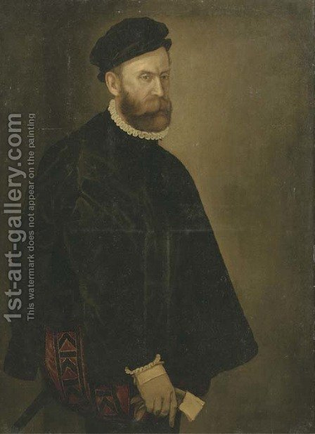 Portrait of a gentleman, three-quarter-length, in a black costume, white collar and cuffs and a black hat, a glove in his right hand by (after) Giovanni Battista Moroni - Reproduction Oil Painting