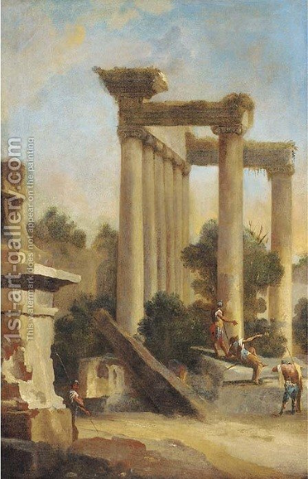 Soldiers conversing amongst classical ruins by Giovanni Paolo Pannini - Reproduction Oil Painting