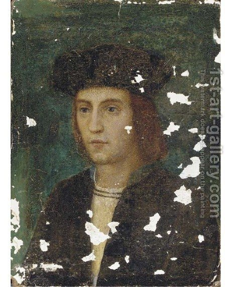 Portrait of a gentleman, bust-length, in a black cap by (after) Holbein the Younger, Hans - Reproduction Oil Painting