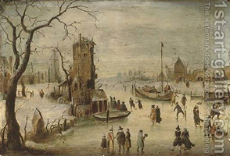 A frozen river landscape with skaters, a church beyond by (after) Hendrick Avercamp - Reproduction Oil Painting