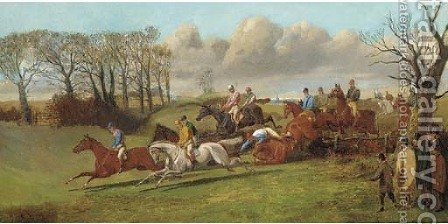 Over the fence, a steeplechase by (after) Henry Alken - Reproduction Oil Painting