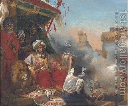 Mohammed Ali's Massacre of the Marmelukes at Cairo by (after) Horace Vernet - Reproduction Oil Painting