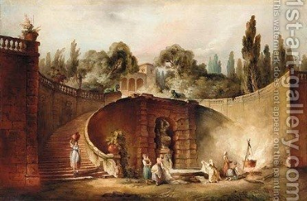 Washerwomen by a fountain in the gardens of the Farnese Palace, Caprarola by (after) Hubert Robert - Reproduction Oil Painting