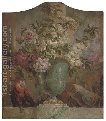 Flowers in an urn with a parrot on a ledge an overdoor by (after) Jacob Bogdani - Reproduction Oil Painting