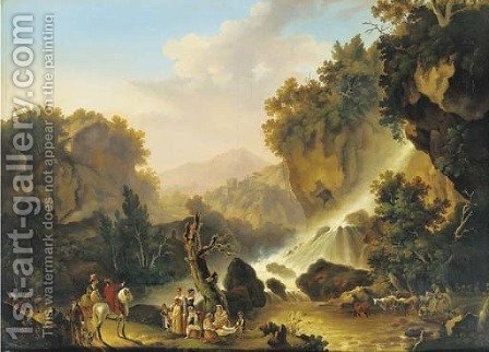 A river landscape with a waterfall, a drover and his cattle, washerwomen and travellers at halt by (after) Jacob Philipp Hackert - Reproduction Oil Painting