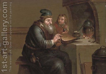 An alchimist with his apprentice by a fire by (after) Jacob Toorenvliet - Reproduction Oil Painting