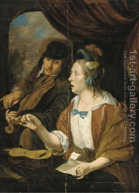 An elegant couple making music in an interior by (after) Jacob Toorenvliet - Reproduction Oil Painting