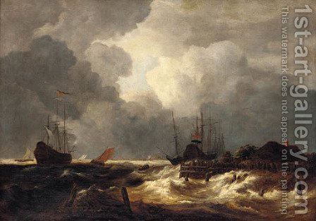 A stormy river estuary with ships by (after) Jacob Van Ruisdael - Reproduction Oil Painting