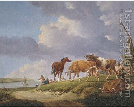 A river bank with herdsmen resting and tending their cattle by (after) Jacob Van Strij - Reproduction Oil Painting