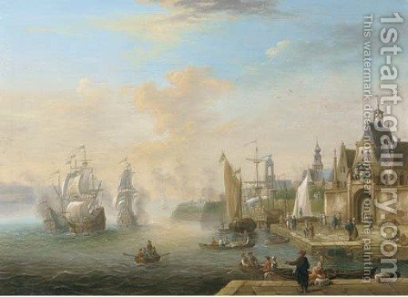 Men o'wars firing at a fortified town, with figures on a quay near a gate by (after) Jacobus Storck - Reproduction Oil Painting