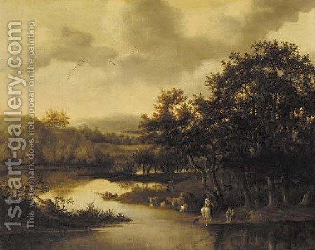 A wooded river landscape with cattle and peasants by (after) Jan De Lagoor - Reproduction Oil Painting