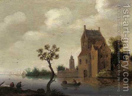 A fortified mansion on a river with fishermen nearby by (after)  Jan Van Goyen - Reproduction Oil Painting