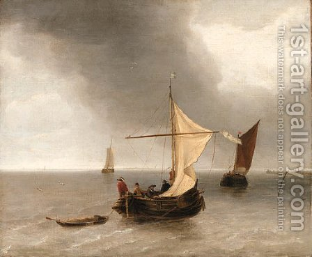 Shipping on a Ruffled Sea by (after) Jan Van De Cappelle - Reproduction Oil Painting